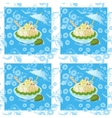 Seamless Ice Cream and Floral Pattern vector image vector image