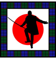 silhouette of man with sword vector image vector image