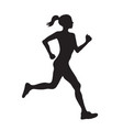 silhouette of running woman profilec simple black vector image vector image