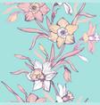 spring elegant flowers on exotic light aqua menthe