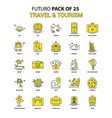travel and tourism icon set yellow futuro latest vector image