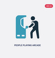 two color people playing arcade game icon from vector image vector image