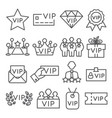 vip line icons set on white background vector image vector image