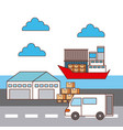 warehouse van car and ship logistic transport vector image vector image
