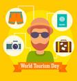 World tourism day icon background flat style