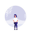 young woman sitting park chair and landscape vector image vector image