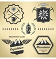 Mountain hiking outdoor symbol emblem label vector image