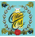 olive oil sprigs of olives and stamp vector image