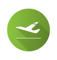 airplane departure flat design long shadow glyph vector image