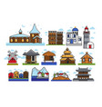 authentic stylized buildings from countrys all vector image