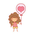 beauty girl with balloon design in the hand vector image vector image