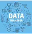 blue line flat circle data transfer vector image