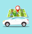 car icon with pin on map gps navigation symbol vector image vector image