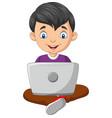 cartoon boy using a laptop vector image vector image