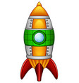 Cartoon rocket spaceship isolated on white backgro