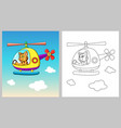cat riding helicopter cartoon character vector image vector image
