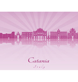 Catania skyline in purple radiant orchid vector image vector image