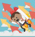 cheerful african businessman flying off with jet vector image