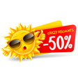 cheerful cartoon sun character which announce vector image vector image