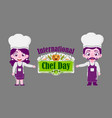 chef chef day cooking service people vector image vector image