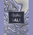christmas sale poster wiht blue marbling vector image