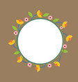 circle floral doodle fram isolated on brown backgr vector image