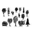 Coniferous Trees Silhouettes hand-drawn vector image