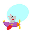 cute funny hippo pilot character flying on vector image vector image