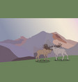 deer running in mountains vector image vector image