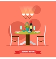 Dining room interior in flat vector image