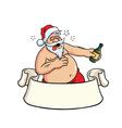 Drunk Santa Claus Drinking Booze Christmas Card vector image vector image