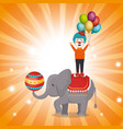 elephant and clown circus show vector image