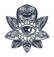 eye on lotus tattoo vector image