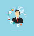 flat design with icons technical support vector image vector image