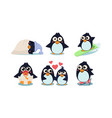 flat set funny penguins in different vector image vector image