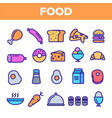 food line icon set home kitchen breakfast vector image