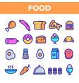 food line icon set home kitchen breakfast vector image vector image