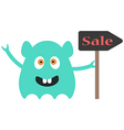 funny monster with sale sign vector image vector image
