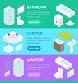 furniture bathroom interior banner horizontal set vector image vector image