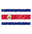 hand drawn national flag of costa rica isolated on vector image vector image