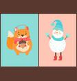 happy squirrel and snowman vector image vector image