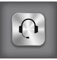 Headphones icon - metal app button vector image vector image