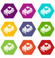 industrial bulldozer icons set 9 vector image vector image