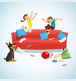 kids jumping on the couch playing with a ball vector image vector image