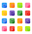 line web icon set on colorful rounded rectangle vector image vector image
