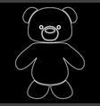 little bear white color path icon vector image