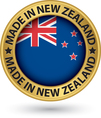 Made in New Zealand gold label with flag vector image