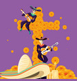 mariachi skulls with cross day of the dead party vector image vector image