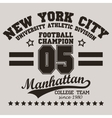 New York City Typography football t-shirt vector image vector image