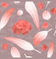 pink rose feathers seamless pattern fluffy twirled vector image